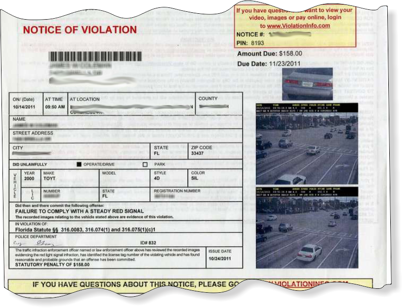 IMAGE Red Light Camera Ticket Notice Of Violation Sample
